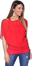 Krisp Womens Casual Loose Solid Chiffon Dolman Shirring Top Blouse Plus Size