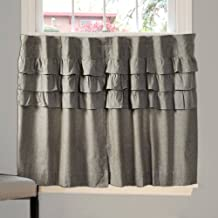 Piper Classics Ruffled Chambray Cafe Tier Set of 2, 36 L x 36 W, Taupe-Grey, Farmhouse Style