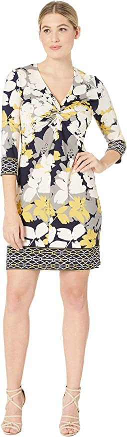 Twist Front Border Print Shift Dress