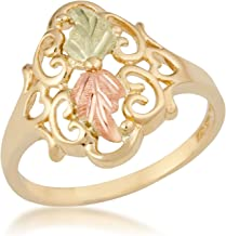 Vintage Rings with Hearts, 10k Yellow Gold, 12k Green and Rose Gold Black Hills Gold Motif