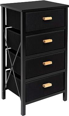 Zenacasa Foldable Dresser for Bedroom, Black - Small Dresser 4 Storage Drawers - Wood Dresser, No Assembly Needed, Clothes St