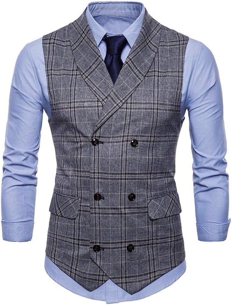C2S Men's British Gentleman Dress Suit Vest Double Breasted Lattice Waistcoat