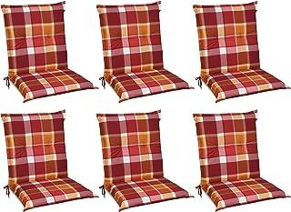 Beautissu Set de 6 Cojines para sillas de Exterior y jardín con Respaldo bajo Sunny RO Rojo 100x50x6 cm tumbonas, mecedoras, Asientos cómodo Acolchado Resistente a Rayos UV