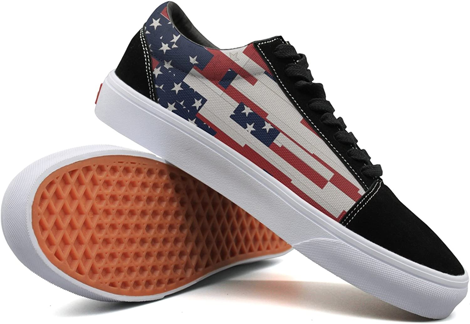 SERHJOI Keppel Teerd Women's USA Flag Art Casual Flat Canvas shoes Low-top Lace-up Sneakers