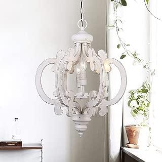LampsNext 6-Light Distressed Antique White Wooden Chandelier