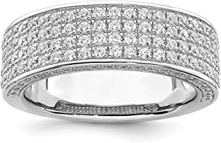925 Sterling Silver Cubic Zirconia Cz Band Ring Wedding Fancy Fine Jewelry For Women Gifts For Her