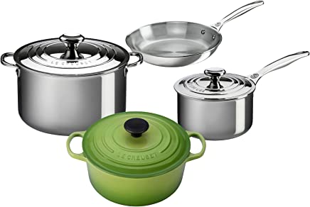 Le Creuset 7-Piece Stainless Steel and Enameled Cast Iron Cookware Set, Palm