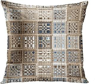Wesbin Slate Blue Brown Sari Mosaic Romantic Hidden Zipper Home Sofa Decorative Throw Pillow Cover Cushion Case Inch 18x18 Square Two Sides Design Printed Pillowcase