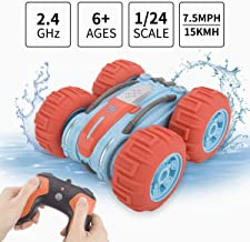 Sugoiti Remote Control Amphibious Car Waterproof 2WD 1:24 Scale Water and Land Boat Truck Monster Roll Double Sided Rotating Tumbling, Rechargeable 2.4Ghz High Speed 7.5Mph Truck, Toy for Kids