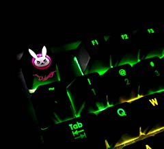 All Decor Overwatch Theme Keycaps Hand-Engraved Resin Thermal Dye Sublimation Key caps for Mechanical Keyboards (Cherry switches) with Gift Case - (DVA3)
