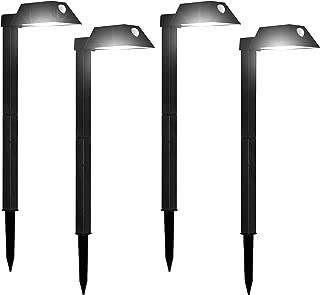 Morvat LED Motion Sensor Outdoor Pathway Lights, Landscape Lights, Solar Path Lights, Motion Sensor Path Lights, Walkway Lights, 110 Lumens, Adjustable, Waterproof, Black, Pack of 4