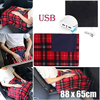 Valentine's Best Gift!!!Kacowpper Portable 5V USB Electric Heated Car Office Use Winter Warm Blanket Cover Heater