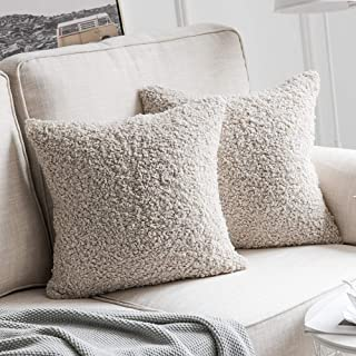 MIULEE Pack of 2 Decorative New Luxury Series Style Grayish White Faux Fur Throw Pillow Covers Super Soft Wool Pillow Cases Cushion Covers for Sofa Bedroom Living Room 18x18 Inch 45x45 cm