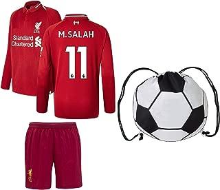Euro Fanatics Liverpool Salah #11 Youth Soccer Jersey Home Long Sleeve Kit Shorts Kids Gift Set
