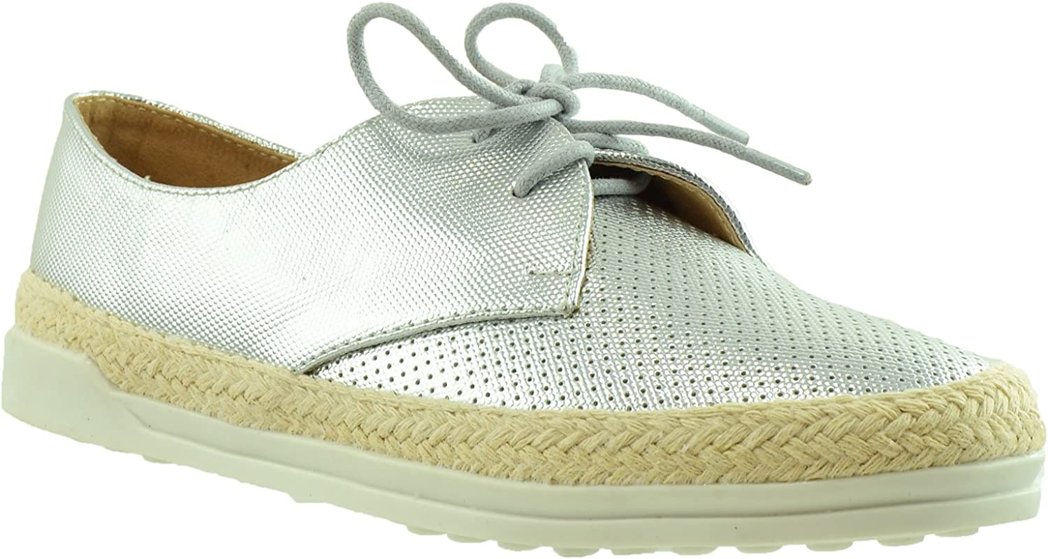 SOBEYO Women's Sneaker Excellent Perforated Same day shipping Lace Espadrilles Closed Up Toe