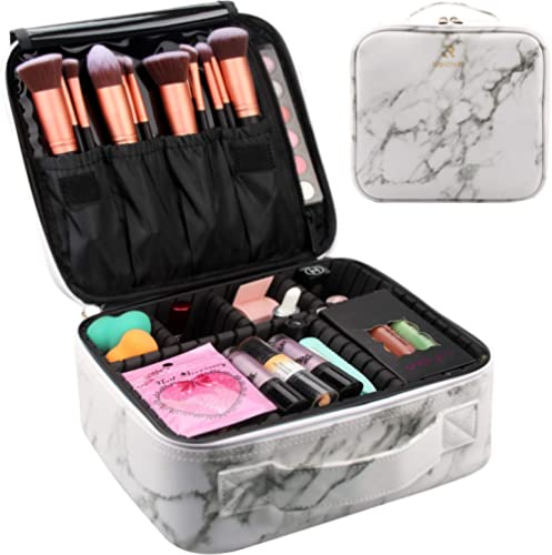 Travel Makeup Train Case Makeup Cosmetic Case Organizer Portable Artist Storage Bag 10.3'' with Adjustable Dividers f...