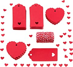 Sumind 200 Pieces Red Paper Tags Hanging Gift Tags Name Labels with 25 m Twines for Valentine's Day Wedding Party (Style 1)