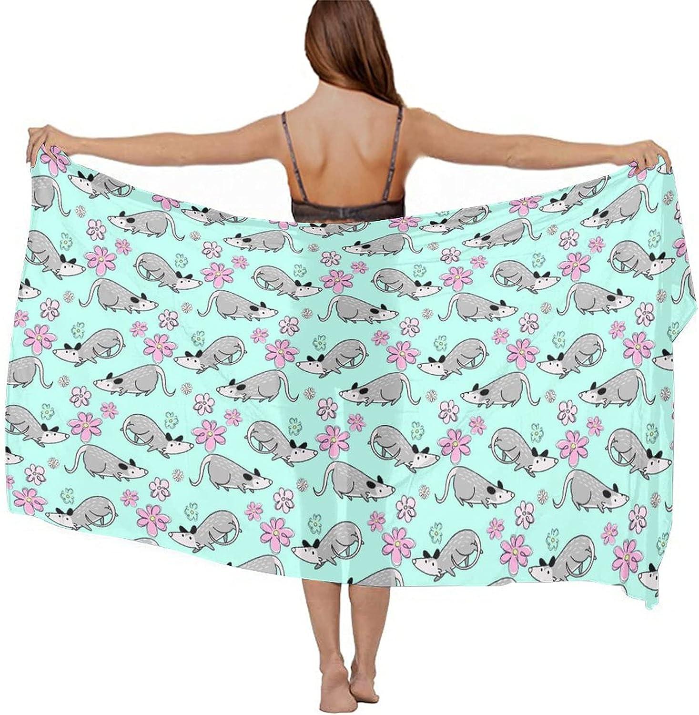 Womens Chiffon Beach Blouses Long Bikini Cover Up Multifunction Silk Scarf