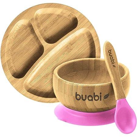 BUABI Vajilla de Bambú natural, set 3 piezas: Bowl Plato y Cuchara. Con ventosa antideslizante en la base. Bambú y silicona grado alimentario, Ecológico sin BPA (Rosa)