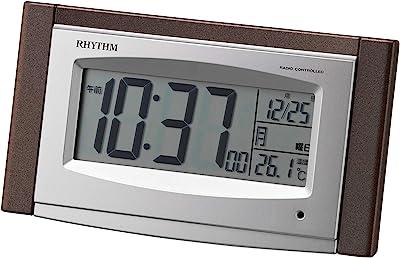 リズム(RHYTHM) 電波時計 目覚まし時計 電子音 アラーム 温度 カレンダー ソーラー補助電源 ライト付き ブラウン 8RZ190SR06 8.1x15x5.3cm