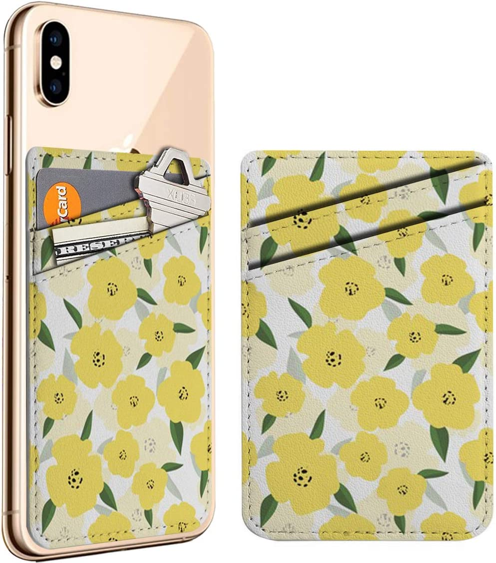 Bright shopping Yellow Flowers Cell Phone Stick ID Card Credit On Leath Easy-to-use
