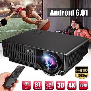 FUT(エフュ ト) 3500ルーメン 3D LED プロジェクター 4K アンドロイド6.0 wifi HD対応 ホームシアター HD ビデオ パソコン/スマホ/タブレット/ゲーム 機接続可可能 ホームプロジェクター ブラック