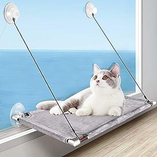 Katzen Fensterplatz, Katzen Hängematte Für Große Katze in Innenräumen, Window Lounger Katzen mit 4 Große Saugnäpfe mit Einem Gewicht von Hält bis zu 50lbs(23kg), Platzsparend und Einfach zu Montieren