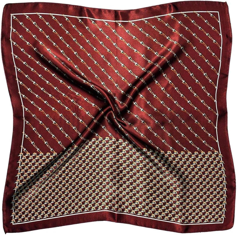 Deep Red White Chain Print Design Small Thick Silk Square Scarf
