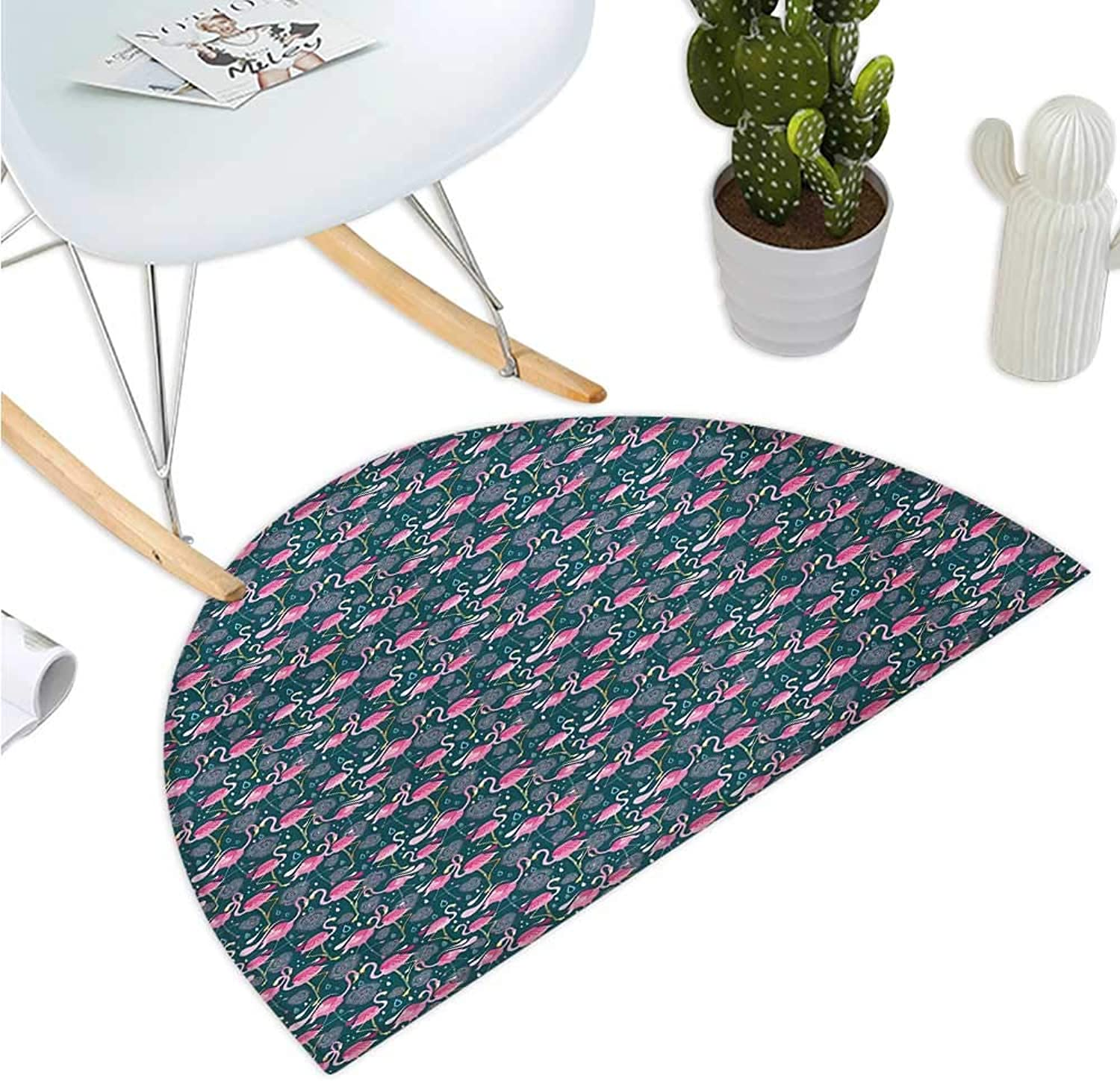Flamingos Semicircular Cushion Exotic Bird Pattern with Flowers Hearts and Raindrops Tropical Bathroom Mat H 35.4  xD 53.1  Pink Dark Green Pale Pink