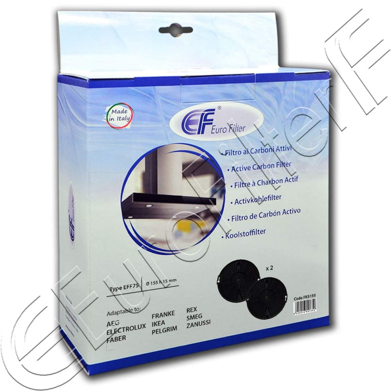 Euro Filter FKS155 - Filtro de carbón activo (2 unidades) tipo EFF75, diámetro 155 mm, altura 15 mm, altura 15 mm AEG Electrolux Faber Franke IKEA PELGRIM REX SEMG ZANUSSI Eurofilter FKS155: Amazon.es: Grandes electrodomésticos