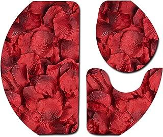 3Pcs Sets Toilet Seat Cover Wc Set Non-Slip Fish Scale Mat Bathroom Kitchen Carpet Doormats Washable Rug Valentine's Day Dec#2,F