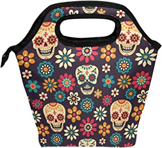 Saobao Insulated Lunch Tote bag Day Of The Dead Handbag lunchbox Food Container Gourmet Tote Cooler warm Pouch For School work Office Travel Outdoor
