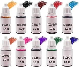 Hitommy 10Pcs Epoxy UV Resin Ultraviolet Curing Dye Colorant Liquid Pigment Mix Colors DIY Crafts