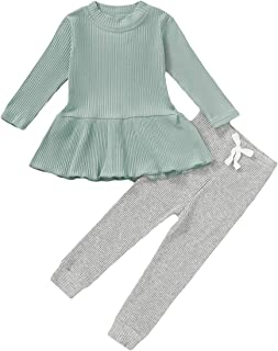 Winter Outfits Toddler Baby Girl Pant Sets Ruffle Long Sleeve Shirts + Floral Flared Trousers Fall Clothes 1-4T