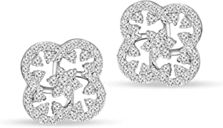 IGI Certified Lab Grown Diamond Earrings 14K & 10K White Gold 1/3-3/8 carat Lab Created Diamond Pinwheel Earring For Women...
