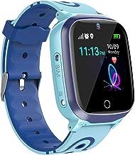 GPS Smartwatch Niños - Reloj Impermeable para Niños con GPS WiFi LBS Reloj Teléfono llamada SOS Chat de Voz Cámara Reloj Despertador Juego Reloj Inteligente para Niños de 3-12 Años (Azul)