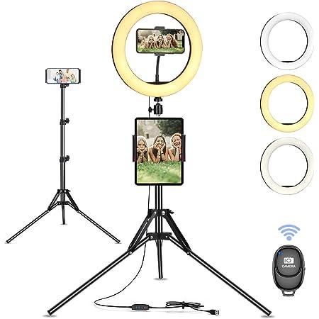 """Luce ad Anello Treppiedi 10"""" LED Selfie Ring Light con Telecomando per Tik Tok, Telefono, Fotografia, Youtube, Trucco e video, Lampada Anulare Regolabile, 3 Modalità di Illuminazione e 10 Luminosità"""