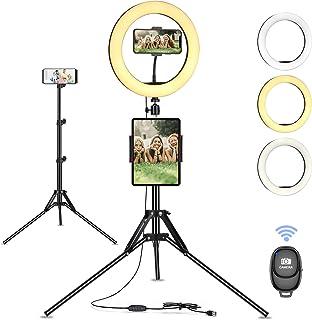 "Linkax Anillo de Luz LED, 10"" Aro de Luz con Trípode para Movil,Selfie Ring Light Control Remoto Bluetooth,3 Color 10 Bril..."