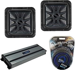 $719 » Kicker (2) L7S12 Car Audio Solo-Baric 12 Subwoofer Square L7 Sub 44L7S122 Bundle with Harmony HA-A1500.1 Amplifier & Amp Kit