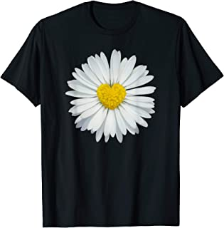 White and Yellow Heart Daisy T-Shirt Flower Rave Tee