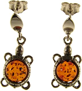 BALTIC AMBER AND STERLING SILVER 925 DESIGNER COGNAC TORTOISE EARRINGS JEWELLERY JEWELRY