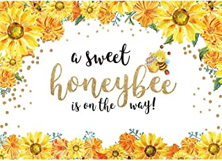 Allenjoy 7x5ft Honeybee Baby Shower Backdrop Sweet Honeybee is on The Way Photography Background He or She Boy or Girl Sunflower Gender Reveal Party Backdrop Bumble Bee Gender Surprise Party Banner