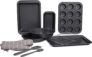kitCom Nonstick Bakeware Baking Set, Toaster Oven Pan Set includes Nonstick Cake Pans, Cookie Sheet, Baking Sheet, Muffin ...