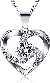 B.Catcher Collar Mujer corazón Plata 925 Colgante ''Amor a Primera Vista'' con San Valentín Regalo Originales Cadena 45cm ...