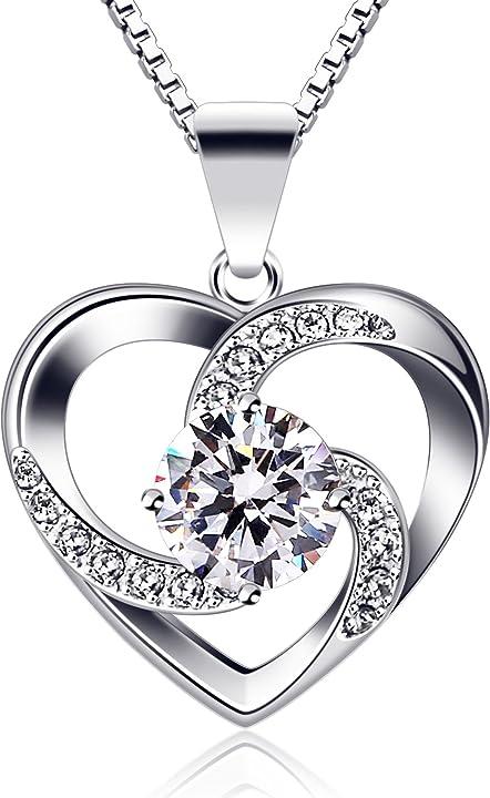 San valentino - collana regalo a forma di cuore  in argento sterling 925 con ciondolo crazy love  b.catcher B08JQN1D3V