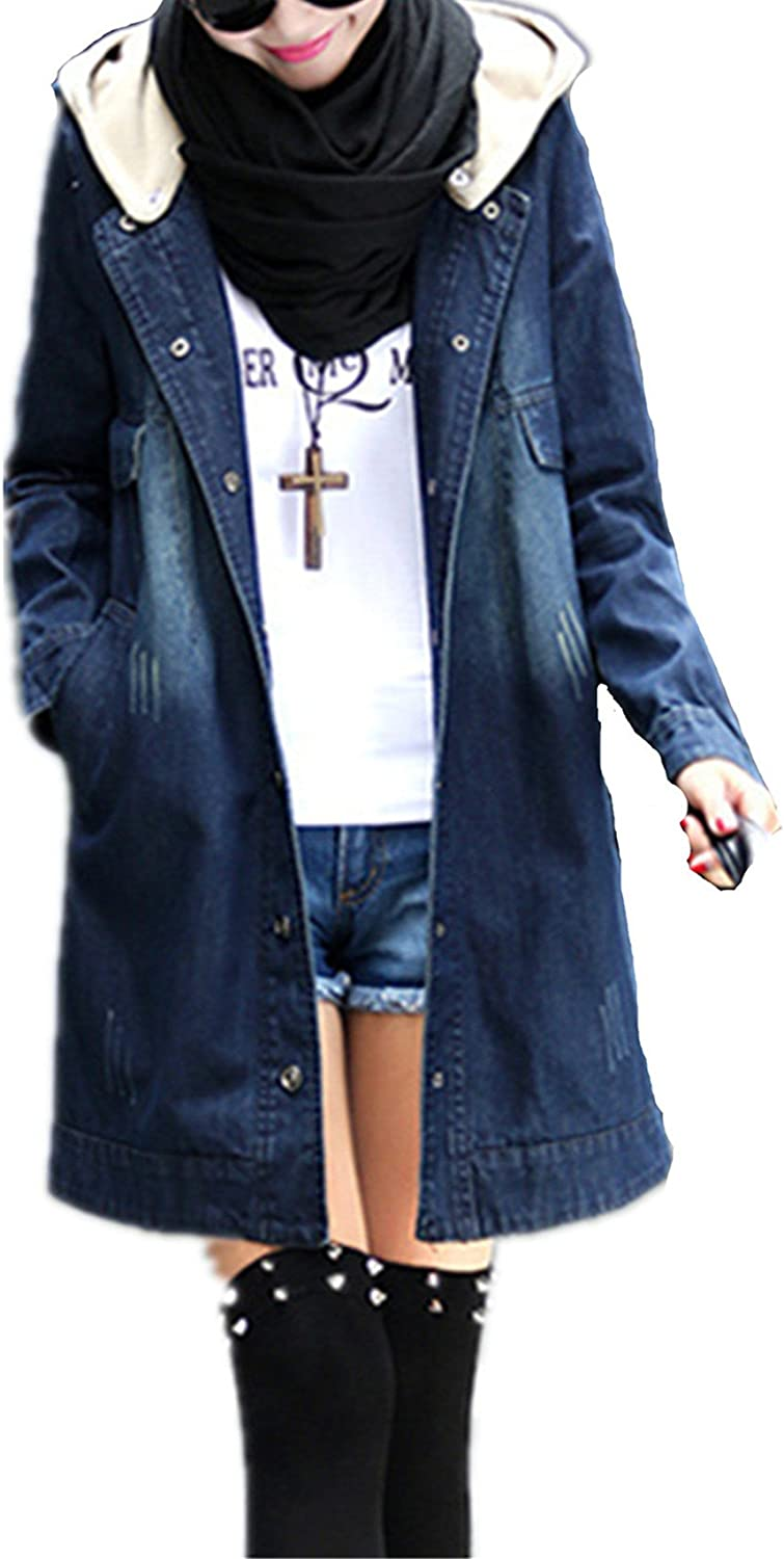 Allonly Women Leisure Long Lambswool Thicking Trench Coat