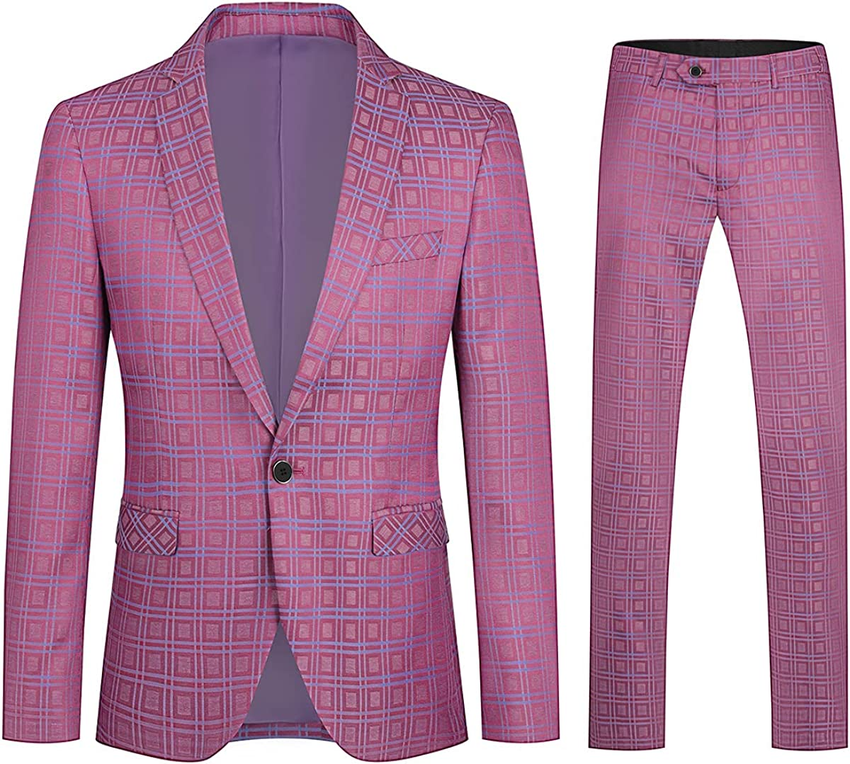 Boyland Mens Plaid 2 Pieces Suit Casual Notched Lapel Single Breasted One Button Blazer Tuxedo Sport Coat Trousers