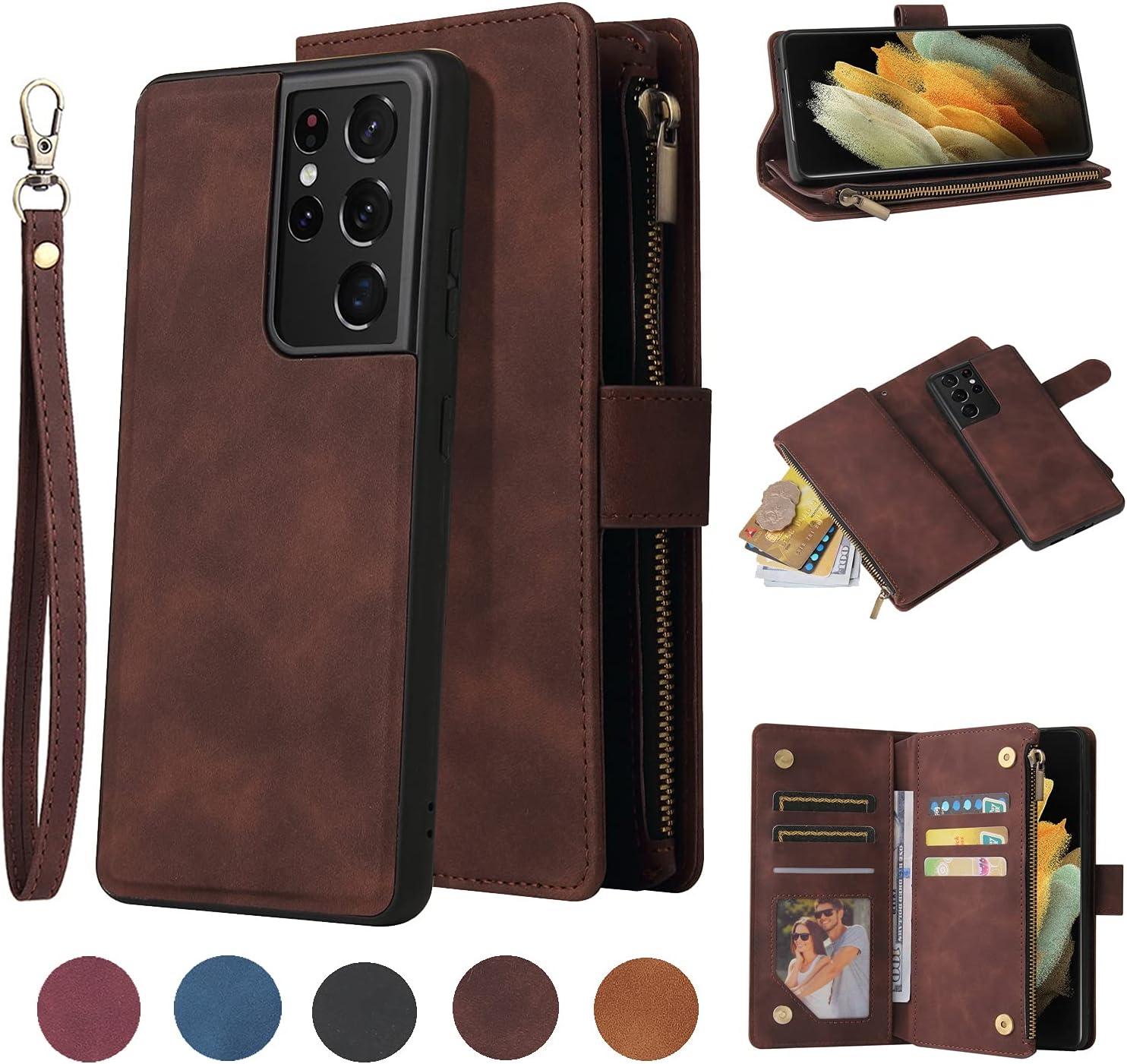 LBYZCASE Wallet Case for Galaxy S21 Plus,Samsung S21+ Case,Folio Flip Premium Leather Zipper Pocket Magnetic Detachable Case Cover[Card Slots][Wrist Strap] for Samsung Galaxy S21 Plus(Coffee)