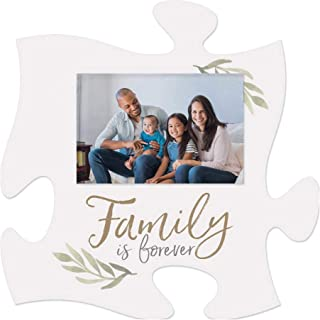 P. Graham Dunn Family is Forever Leaf White 6 x 6 Wood Mini Puzzle Piece Wall Photo Frame