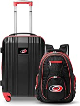 """Denco Carolina Hurricanes 2-Piece Luggage Set, Includes 21-inch Two-Tone Hardcase Spinner and 19"""" Laptop Backpack"""